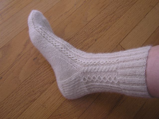 Hand Knitting White Lace Sock