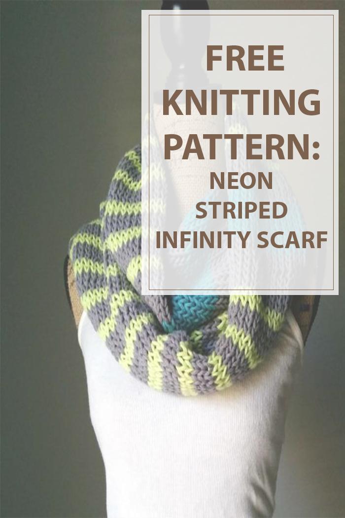 Striped Infinity Scarf Knitting Pattern : Infinity Scarf Knitting Pattern Neon Stripes - Housewives Hobbies