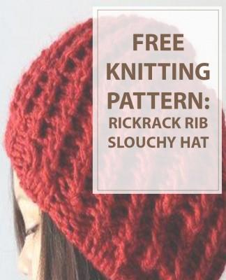 Knit Pattern Rickrack Rib Slouchy Hat