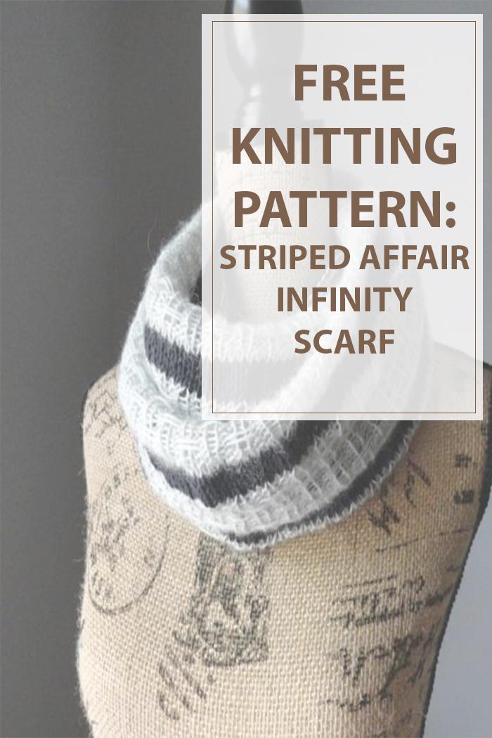 Striped Infinity Scarf Knitting Pattern : Knit Scarf Pattern Striped Affair Infinity - Housewives Hobbies