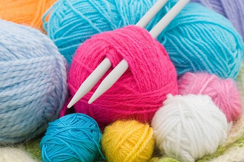 Knitting Wool And Needles : Yarn and knitting needles housewives hobbies