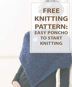 Poncho Knitting Pattern Deep Blue Color