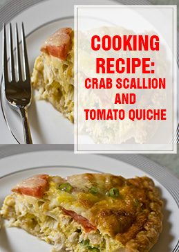 Crab Scallion & Tomato Quiche Cooking Recipe thump
