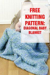 Diagonal Baby Blanket Free Knitting Pattern THUMP