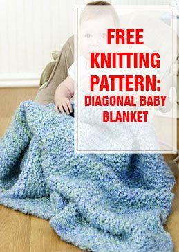 Diagonal Baby Blanket Free Knitting Pattern THUMP