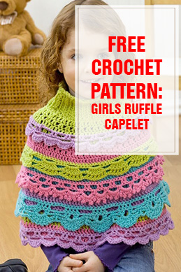 Free Crochet Pattern Girls Ruffle Capelet THUMP