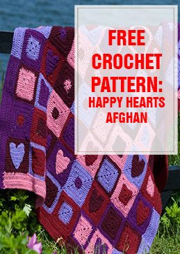 Free Crochet Pattern Happy Hearts Afghan THUMP