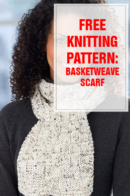 Free Knitting Pattern Basketweave Scarf THUMP