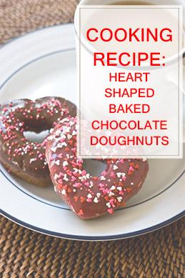 Heart Shaped Baked Chocolate Doughnuts THUMP