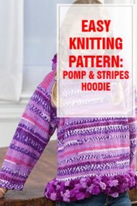 Pomp & Stripes Hoodie Free Knitting Pattern THUMP