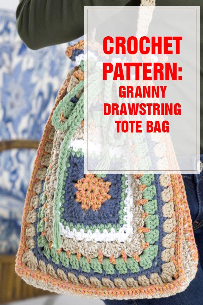 crochet pattern granny drawstring tote bag