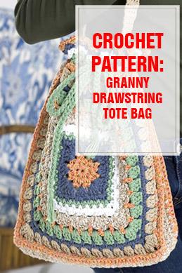 crochet pattern granny drawstring tote bag thump