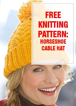 free knitting pattern horseshoe cable hat thump