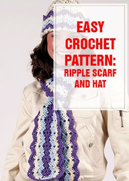 ripple hat and scarf free crochet pattern THUMP