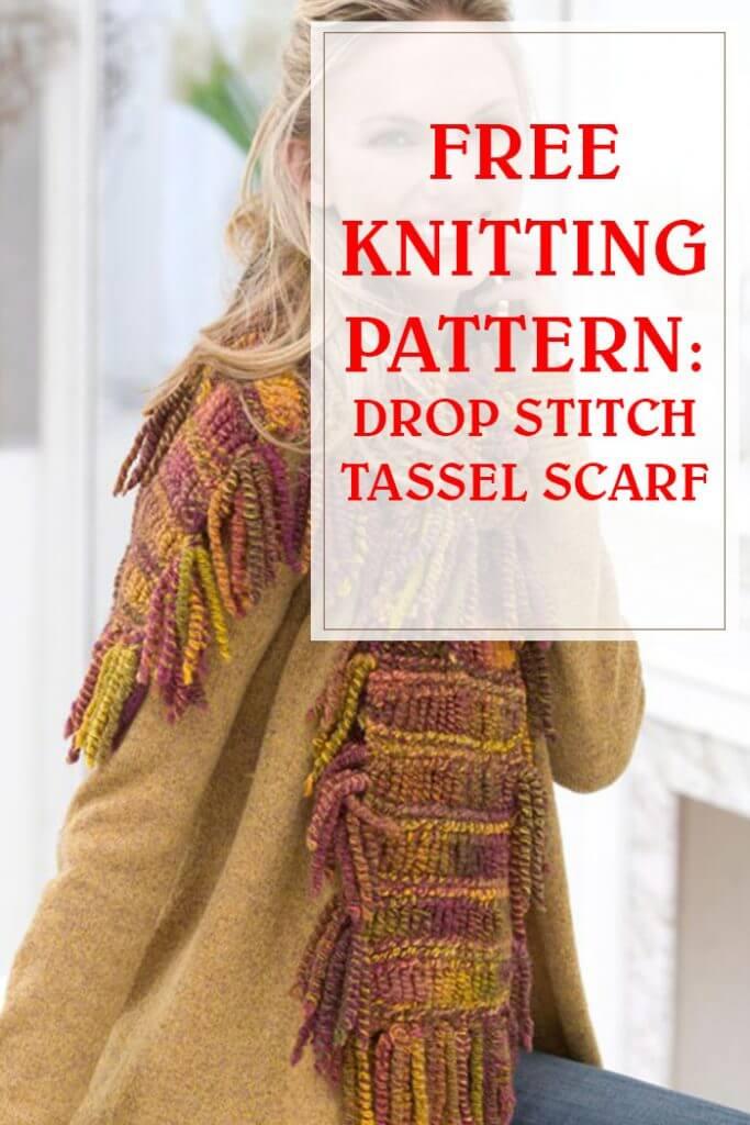 Drop Stitch Tassel Scarf Free Knit Pattern