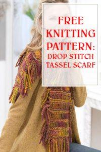 Drop Stitch Tassel Scarf Free Knit Pattern THUMP