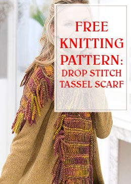 Drop Stitch Tassel Scarf Free Knit Pattern THUMP