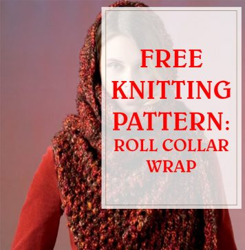 Easy Free Knitting Roll Collar Wrap THUMP