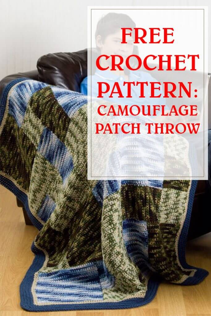 Camouflage Patch Throw Free Crochet Pattern