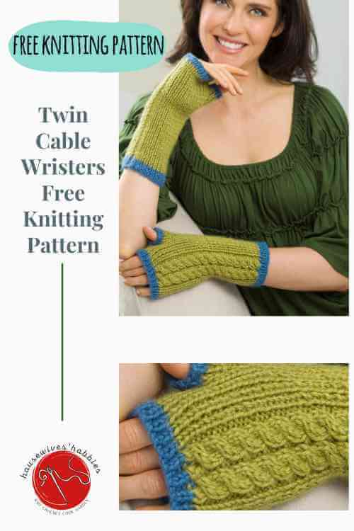 Twin Cable Wristers Free Knitting Pattern_compressed